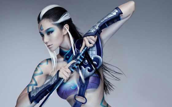 девушка, amazon, воин, fantasy, anime, бодиарт, warriors,