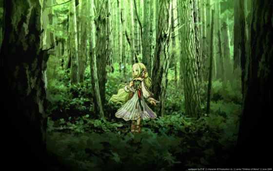 anime, девушка, лес, fantasy, images,