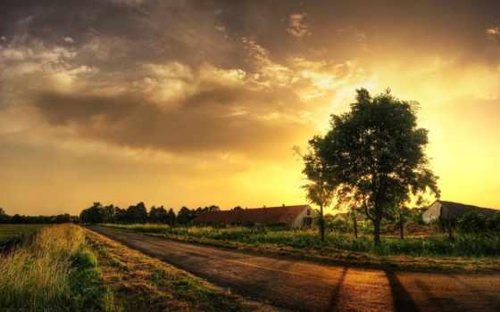 закат, деревня