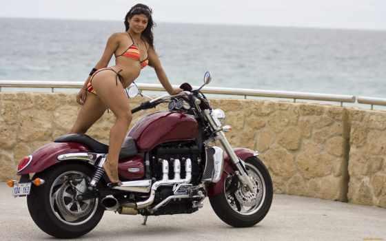 triumph, мотоциклы, девушкой, мотоцикл, мото, bike, женщина, rocket, red, iii, biker, девушка,