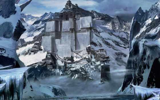горы, journey, китаянка, fortress, снег, строения, китае,