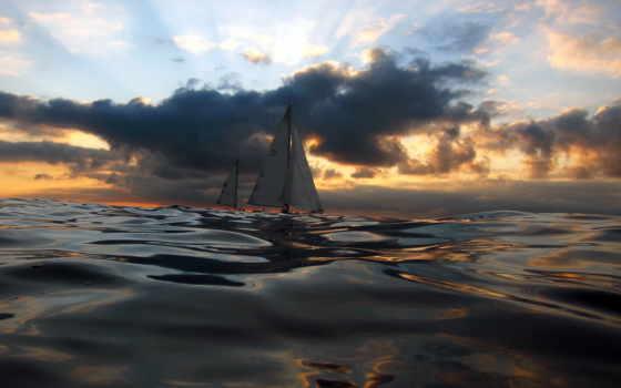 sailboat, море, закат, waves, парусники, browse, тучи,