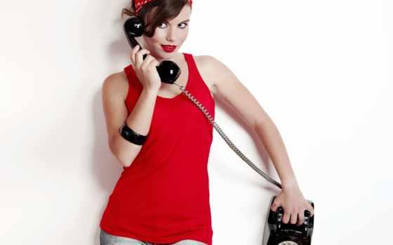 pin, ретро, современный, девушка, красивая, настроение, разговаривает, телефонное, современные,