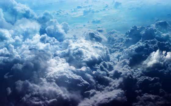 облака, небо, blue