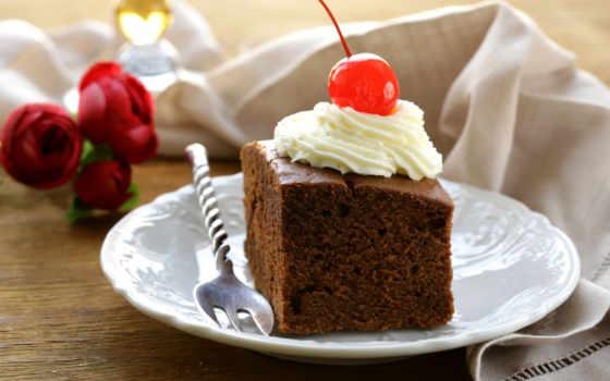 торт, chocolate, кремом, вишенка, мороженое, десерт, вишней, близко, лежат, вишенкой,