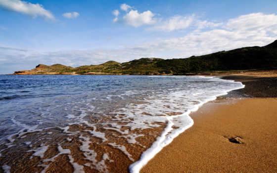 море, пляж, камень, oblaka, waves, небо, схема, вышивки, дек,
