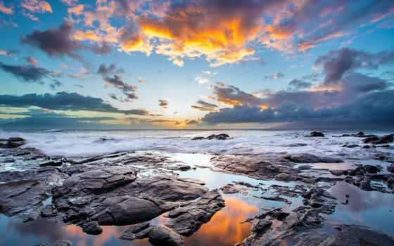небо, закат, вечернее, дерево, со, fone, каменистым, яркого, природа, дерева, неба,