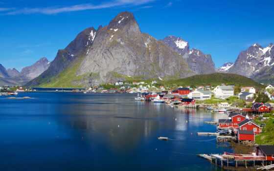 гора, море, norvège, fond, поездка