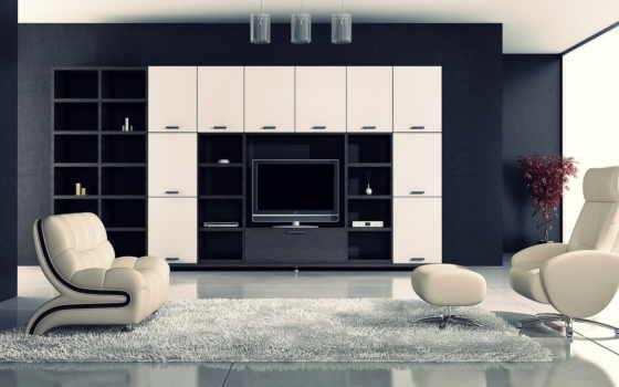 чёрно, интерьере, white