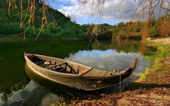 лодка, природа, деревя