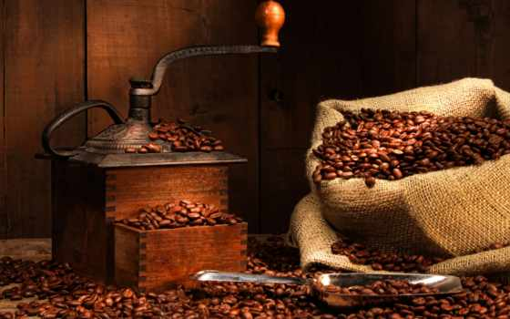 кофе, мешок, кофемолка