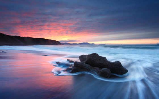 закат, пляж, beaches