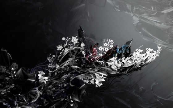узоры, black, цветы, фон, color, images, форма, кляксы,