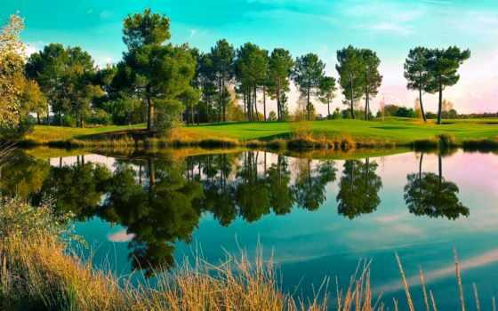 озеро, landscape, trees