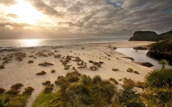 new, zealand, пляж, haast, okuru, закат, strand,