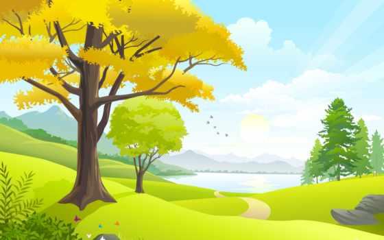 лес, рисунок, trees, фотопанно, море, nat,