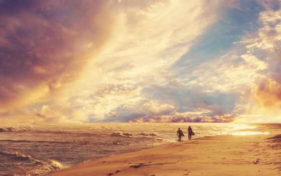 море, пляж, небо, люди, побережье, природа, сёрфинг, волна, горизонт