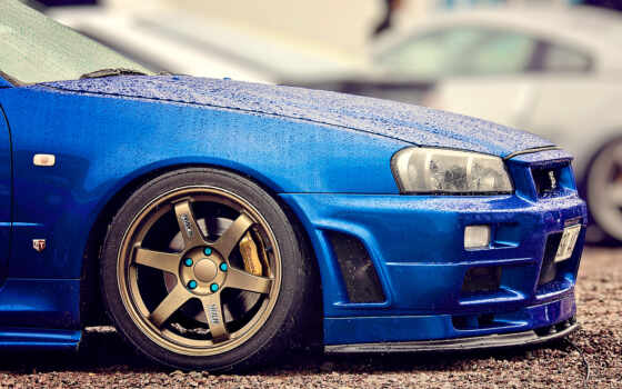 nissan, skyline, car, nissannyi, blue, бампер
