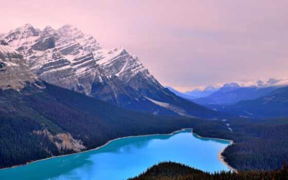 озеро, канадский, rockies, peyto, banff, national, park, гора, канада, glacier