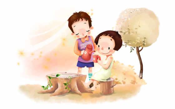 нарисованные, дети, мальчик, девочка, звёздочки, босиком, чайник, чашка, пень, дерево, смущение, улыбка