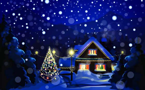 новогодние, пейзажи -, зимние, часть, снег,