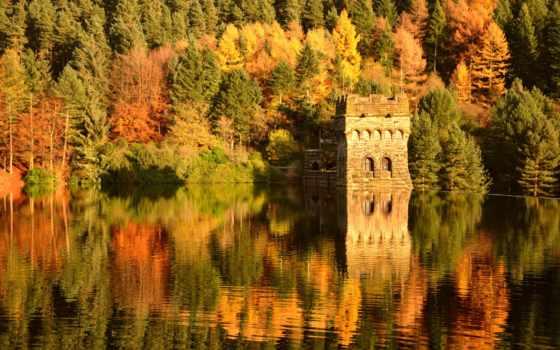 osen, water, ozero, отражение, замoк, les, крепость, пристань, река,