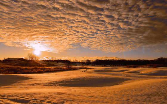 природа, закат, winter, высоком, отличном, warm,