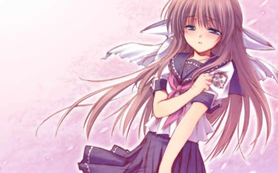 anime, девушка, грустный