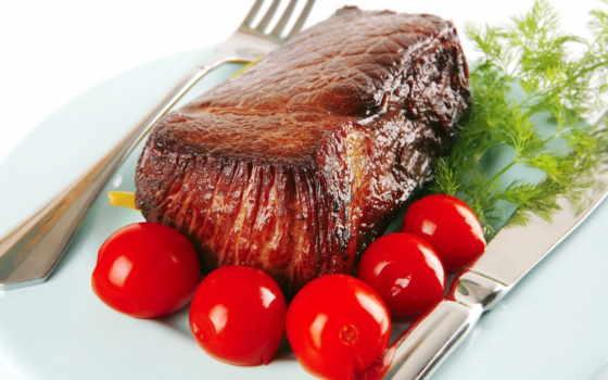 meat, жареное, табличка, fork, помидоры, нож, укроп, мяса,