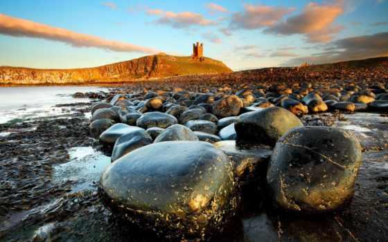 landscape, камни, море, castle, дунстан, burg, нортумберленд,