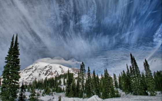 zima, resimler, hintergrundbild, pulpit, duvar, tapeta, снег, oblaka, горы,