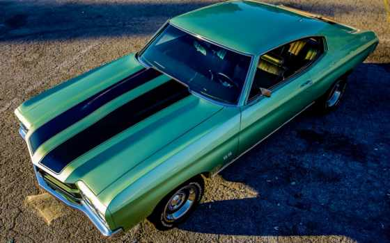 chevrolet, chevelle, classic, ретро, verde, black, side, sickness, coupe,