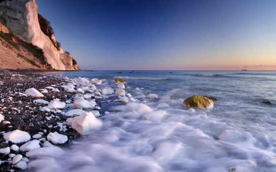 скалы, море, берег, камни, ocean, algae, oblaka,