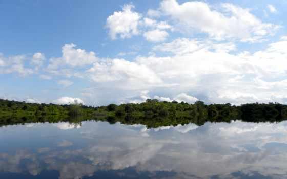 небо, clouds, trees, трава, uma,