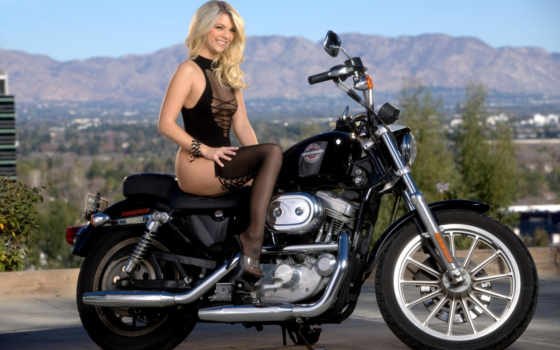 harley, davidson, sportster, девушка, мотоцикл, lingerie, pretty,