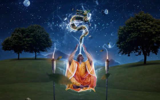 медитация, monk, медитации, заставки, art, дракон,