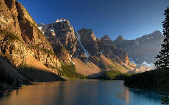 озеро, морейн, канадский, banff, горы, альберта, находится, moraine, ледниковое,