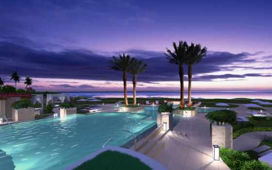 бассейн, море, природа, water, пальмы, шезлонги, landscape,