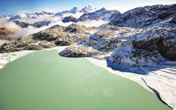 природа, горы, winter, новая, zealand, лес, озеро, небо, landscape, снег,