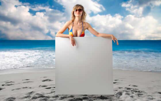девушка, пляж, рамочка