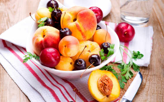 ,черешня, вишня, фрукты, лето, нож, салфетка, персики, тарелка, сливы,еда,