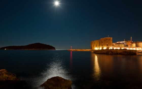 ночь, море, луна