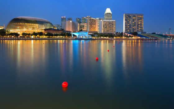 море, город, здания, дома, singapore, огни, favourite, отражение, юлианна, feat,