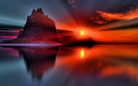 красавица, природы, закат, природа, небо, нежная, water, landscape, море, sun,