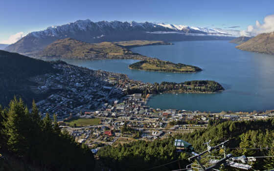 ,Queenstown, New, Zealand, royalty, stock, озеро,