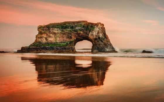 пляж, state, санта, natural, природа, cruz, bridges, фоторамки, android,