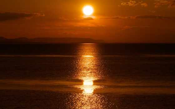 закат, отражение, ray, sun, гора, трек