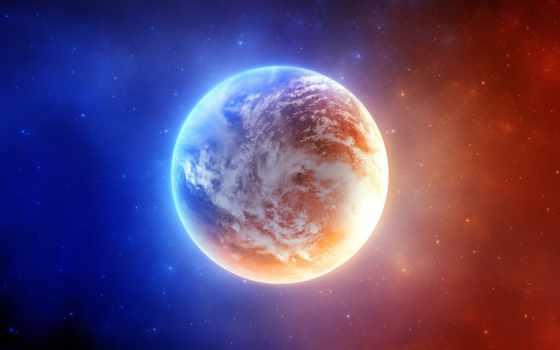 планета, синий, звезды, облака, красный, космос, orange, mind, hintergrundbilder, blowing, licht, планеты, земли, erde, und, der, изображение, free, blaue, за, art, свет, digital, desktop,