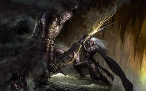 битва, эльф, нежить, лич, пещера, картинка, горы, монитора, качестве, фантастические,
