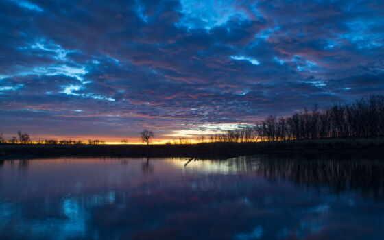 рассвет, утро, река, деревья, лес, water, гладь,